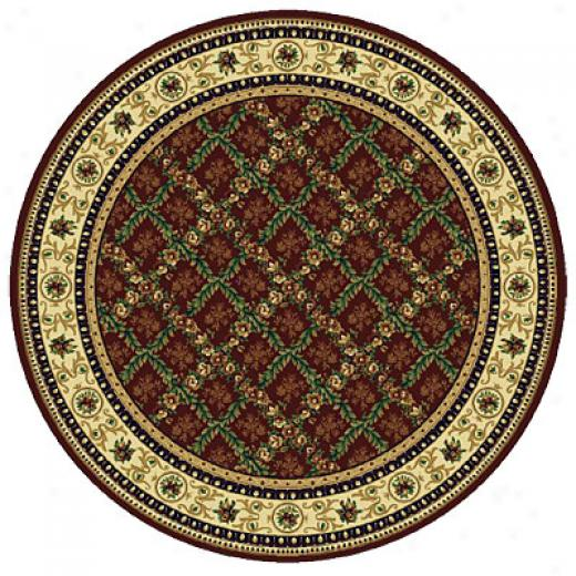 Rug One Imports Royal Bouquet 8 Round Claret Yard Rugs
