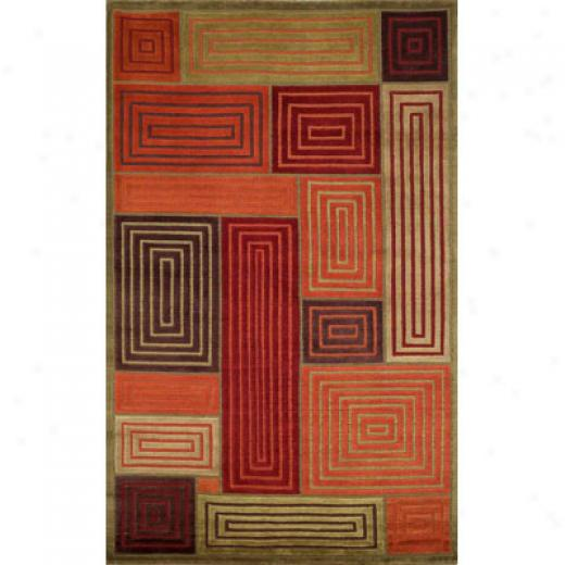 Trans-ocean Signification Co. Bhutan 10 X 14 Boxes Fire Area Rugs