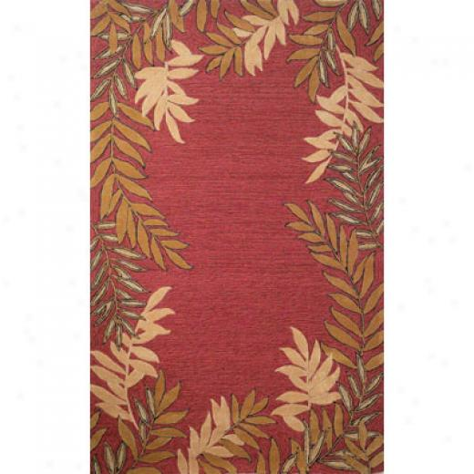 Trans-ocean Import Co. Spello 4 X 6 Fern Border Red Area Rugs