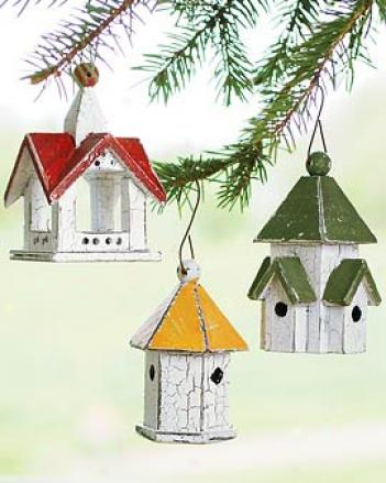 Birdhouse Ornaments, Set Of 3