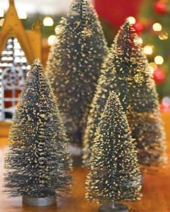Bottle Brush Trees, Set Of 4