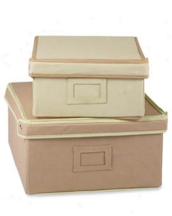 Canvas Storage Boxes, Set Of 2