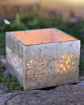 Carved Soapstone Tea Light Holder
