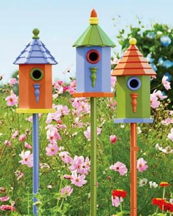Colorful Birdhouses, Set Of 3, Factory Seconds