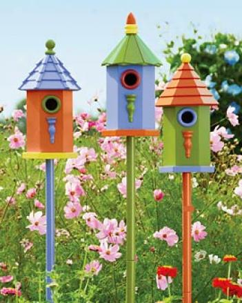 Colorful Birdhouses, Set Of 3