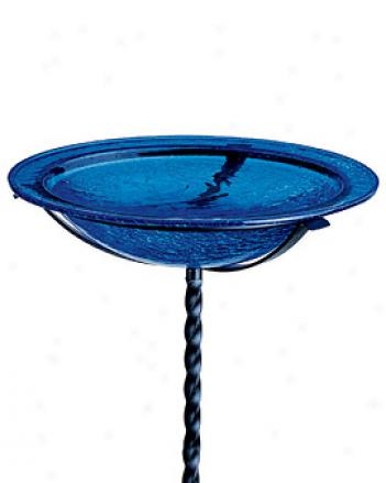 Crackle-glass Birdbath, Blue