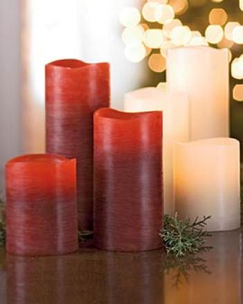 Cranberry Artisan Led Pillars, Set Of 3