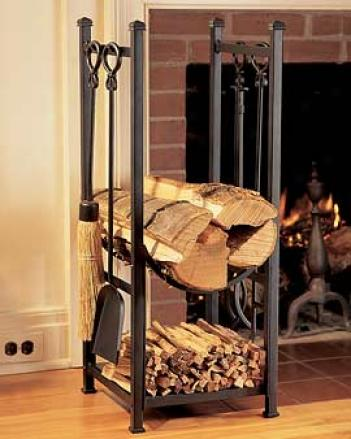 Firewood Rack With Tool Set