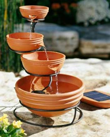 Four-tier Solar Fountain
