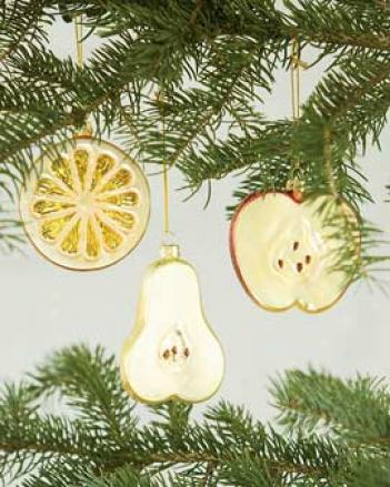Fruit Cut Ornaments, Set Of 3
