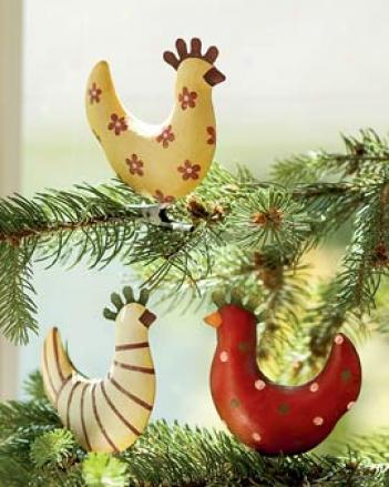 Funky Chicken Ornaments, Set Of 3