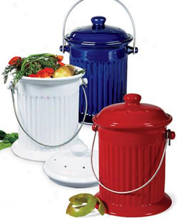 Kitchen Compost Crock, Red