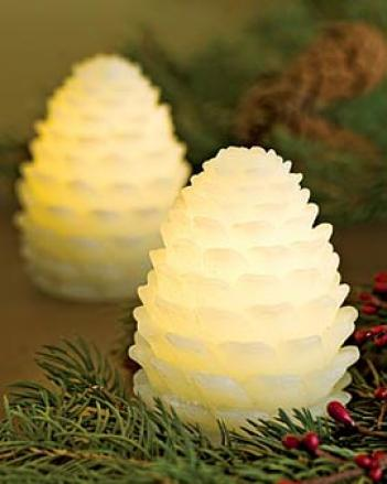 Led Pinecone Candles, Set Of 2