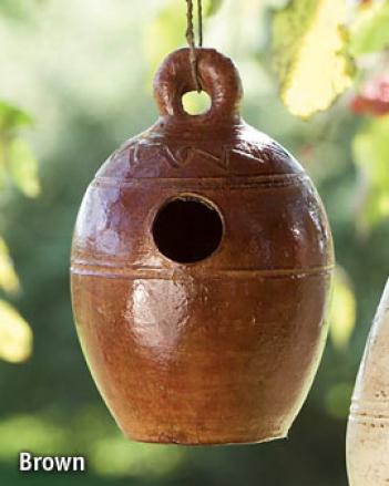 Rustic Clay Birdhouse, Terra Cotta