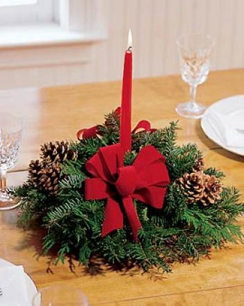 Small Evergreen Centerpiece With Red Bow