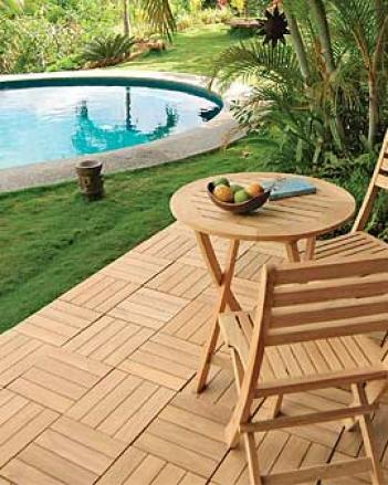 Teak Deck Tiles, Set Of 2
