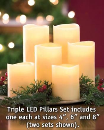 Triple Led Pillars, Set Of 3