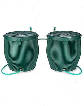 Two English Rain Barrels With Free Linking Kit