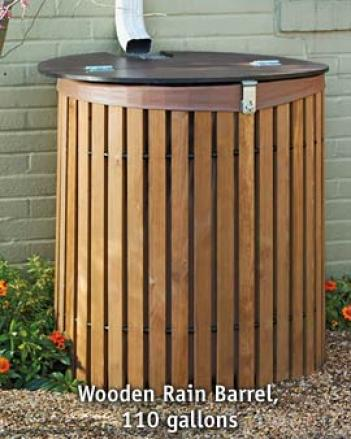 Wooden Rain Barrel, 110 Gallon