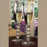 Glass Heart Stemmed Flutes (set Of 2)