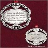 Merry Christmas From Heaven Ornament - Pewter