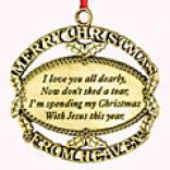 Merry Christmas From Heaven Ornament - Gold Plate