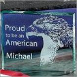 Proud To Be An American Glass Paperweifht