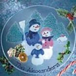 Snowman Family Glass Platter