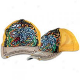 Ed Hardy Flaming Tiger Washed Hat