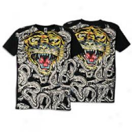 Ed Hardy Men's S/s All Over Snake Tiger Tee
