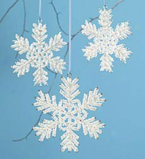 Beaded Snowflake Ornaments, Set Of 3