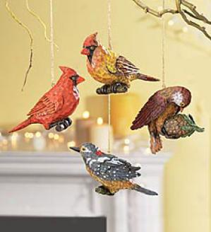 Bird Ornaments, Set Of 4