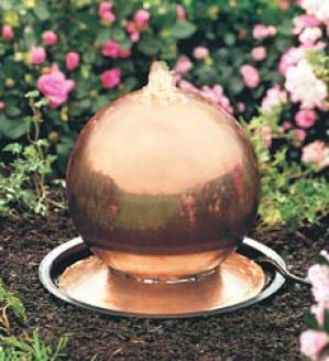 Copper Gazing Ball Fountain