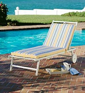 Deluxe Chaise Cushion Two Sections, Square Corners With Ties  69
