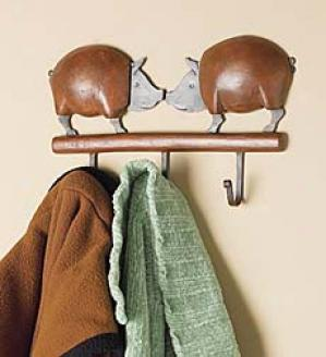 Double Pig Rustic Wall Hook