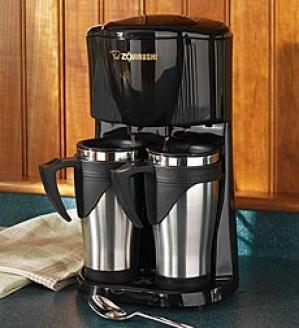 Dual Coffee Maker And Mugs