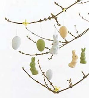 Egg And Bunny Ornaments, Set Of 32