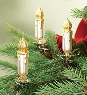 Glass Candle Ornaments, Ser Of 3