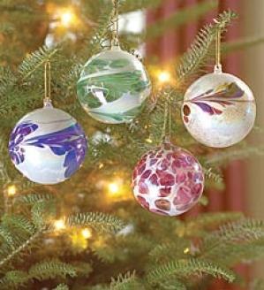 Glass Ornaments, Set Of 4