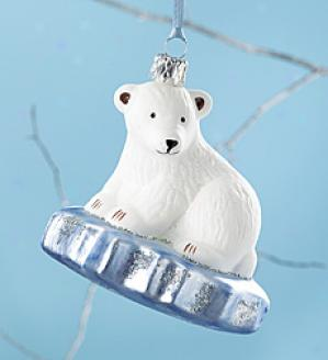 Glass Polar Bear Oenament