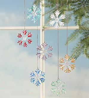 Glass Snowflakes, Set Of 7  Multi Only
