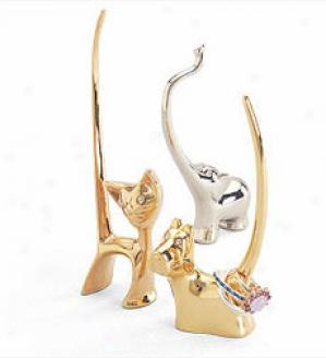 Gold Cat Ring Holder