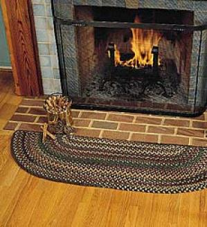 Half-round Braided Hearth  Rug