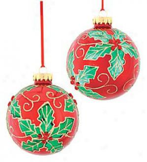 Holly Ornaments, Set Of 2