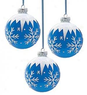 Large Snowflake Glass Ornaments, Regulate Of 3