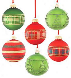 Painted Glass Ball Ornaments, Set Of 6