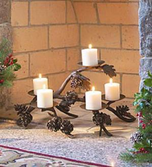 Pine Cone Fireplace Candelabra