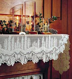 Pine Cone Lace Mantel Scarf   Ecru Only.