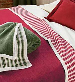 Queen Ticking Stripe Blanket  Red Only