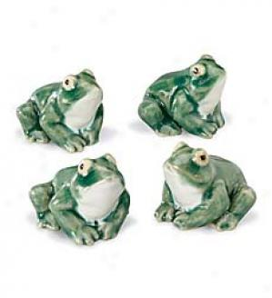 Sitting Frogs, Set Of Four